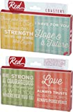 Strength And Hope Scripture Verses 4 Piece Absorbent Ceramic Coaster Set