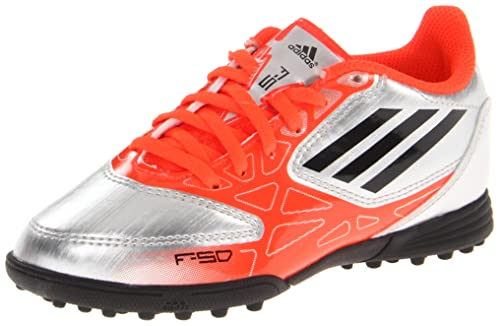 adidas F5 TRX TF J Soccer Cleat,Metallic Silver/Infrared/Black,2