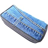Bijoux De Ja Women Blue Denim Money Double Zipper Around Accordion Wallet Wristlet Purse Clutch DMW015