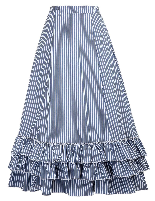 Victorian Skirts | Bustle, Walking, Edwardian Skirts Belle Poque Women Steampunk Gothic Skirt Victorian Ruffled Renaissance Costume $37.99 AT vintagedancer.com