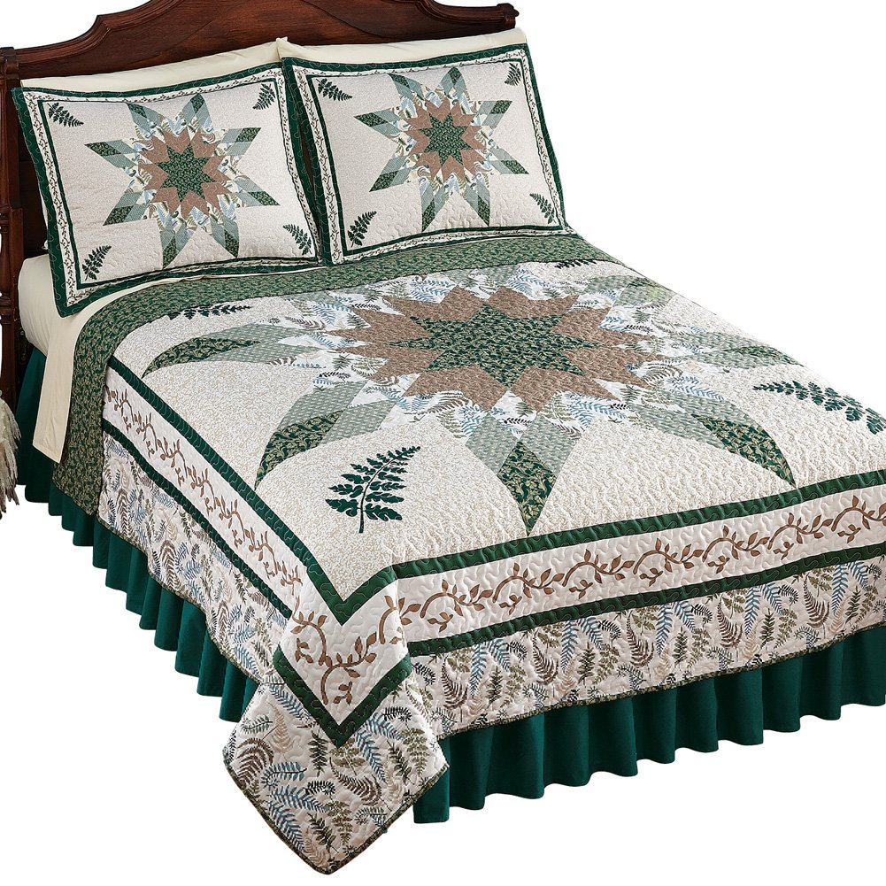 Nature-Inspired Botanical Fern Star Patchwork Bedding Quilt, Green Multi, Full/Queen