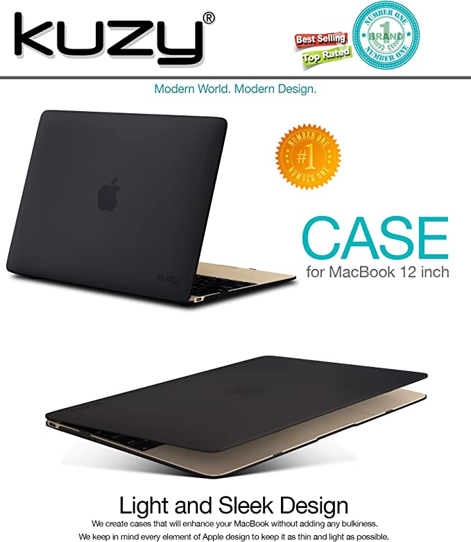 Amazon Com Kuzy Macbook 12 Inch Case Retina Display Model A1534 New 2018 2017 2016 2015 Soft Touch Hard Case Shell Cover Black Computers Accessories