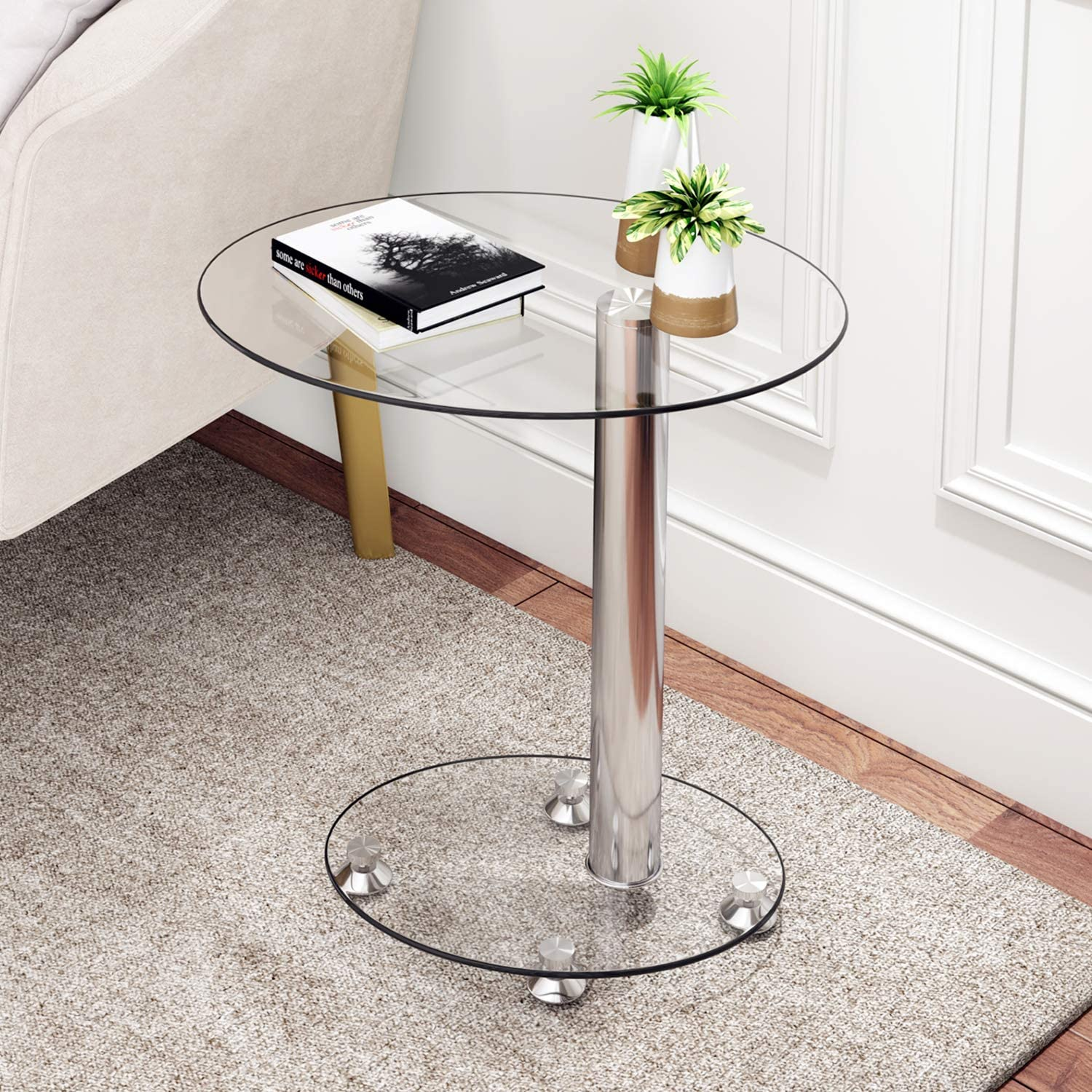 j sofa side table glass end table bedside table for living room bedroom