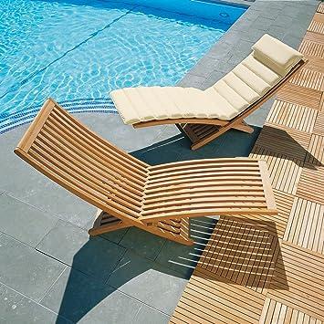 Lucia Premium Teak Contemporary Sun Lounger with Cushion Natural
