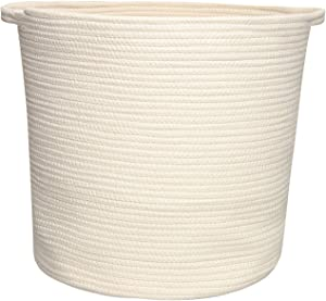yukimocoo White-Worm Color and Soft Rope Storage Basket, Laundry Baskets with Handles, White Cotton Rope Baskets, Clothes Hamper Woven Basket for Nursery, Towel Storage Basket, Environmental Material
