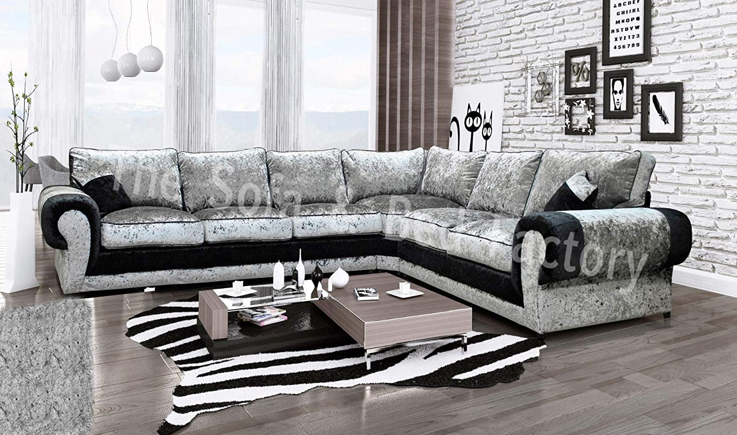 save off 090d0 37339 Details about Cheap Luxury Lara Crushed Velvet Large 6 Seater Corner Sofa  Black And Silver 3C2