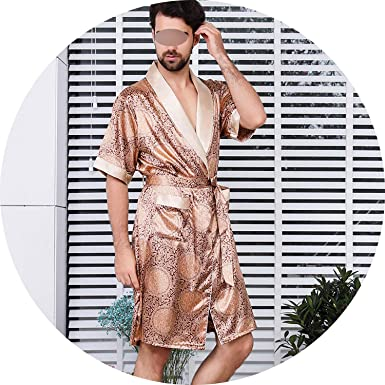 855a3b1c2 2019 Men's Silk Nightgown Robe Summer Short-Sleeve Kimono Pajamas Bathrobe Mens  Print Plus Size 5XL at Amazon Men's Clothing store: