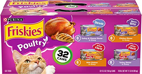 Purina Friskies Canned Wet Cat Food 32 Count Variety Packs – 32 5.5 oz Cans