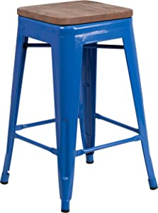 """Flash Furniture 24"""" High Backless Metal Counter Height Stool with Square Wood Seat - Blue"""