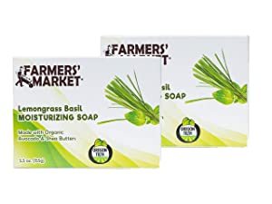 Farmers' Market Moisturizing Organic Bar Soap, Lemongrass Basil, 5.5-Ounce, Pack of 2