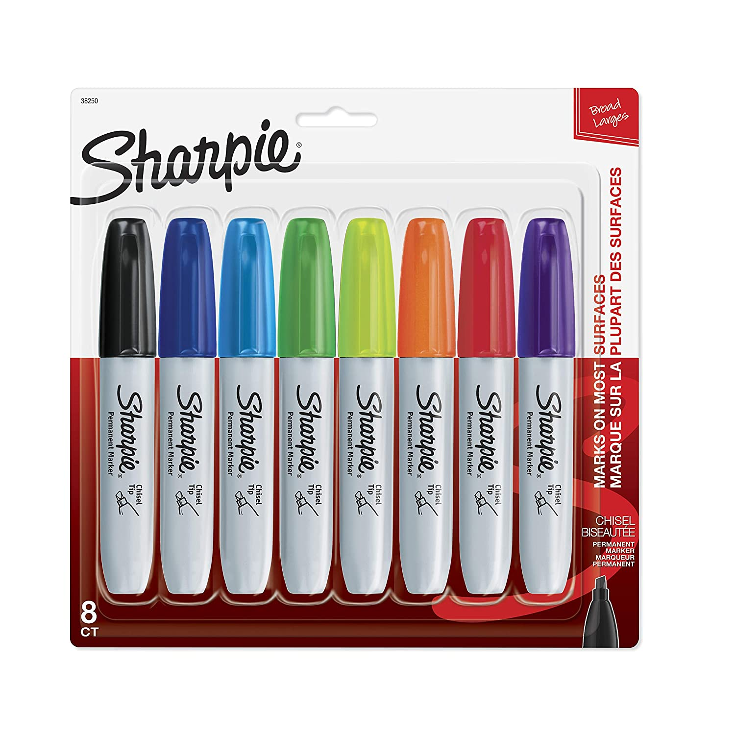 Sharpie 38250PP Permanent Markers, Chisel Tip, Assorted Colors, 8-Count