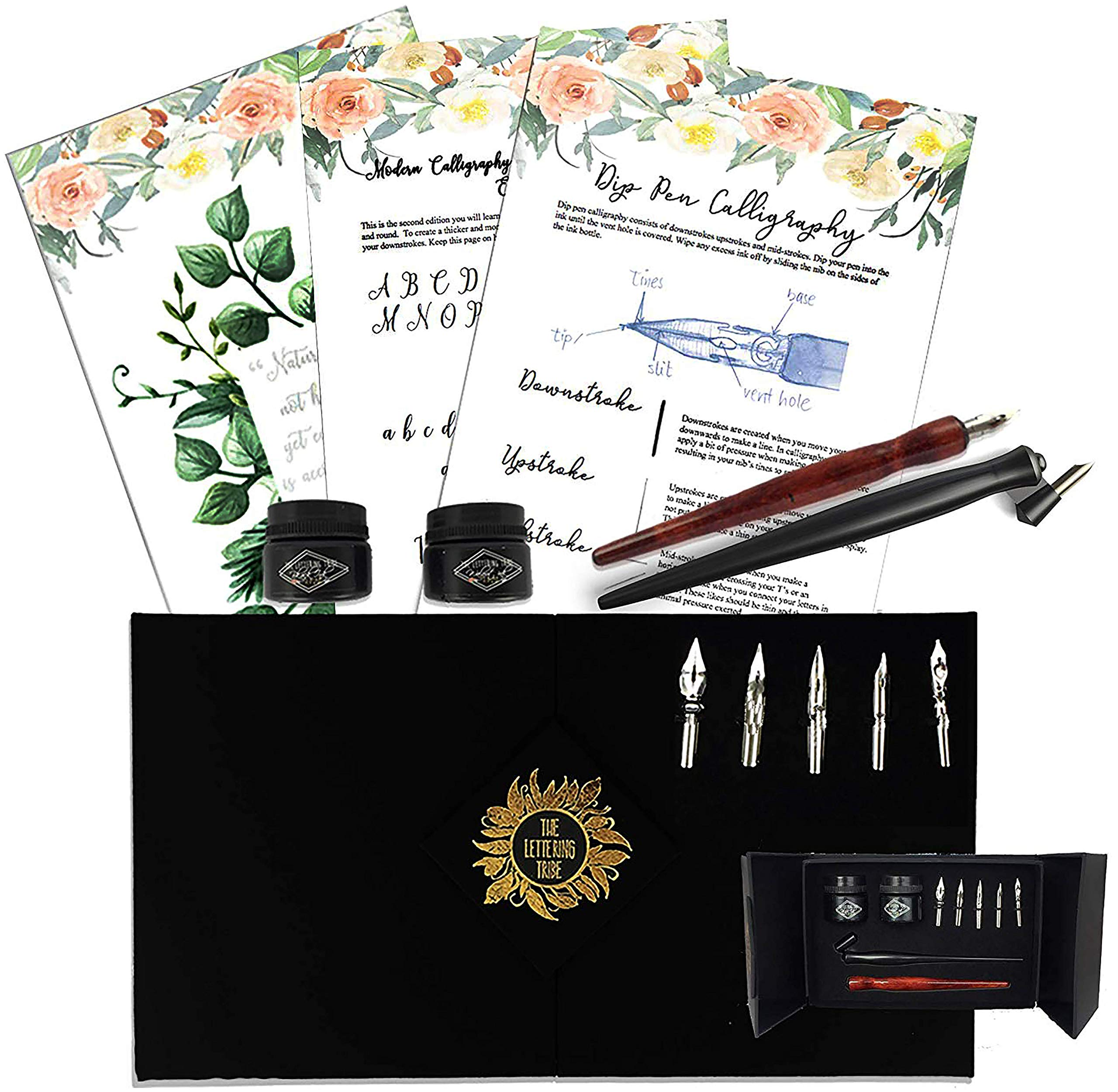 The Lettering Tribe Calligraphy Set For Beginners | Oblique Pen Holder + Wooden Pen + 5 Nibs + 2 India Ink + 2 Booklets| Caligraphy kits for beginners by The Lettering Tribe