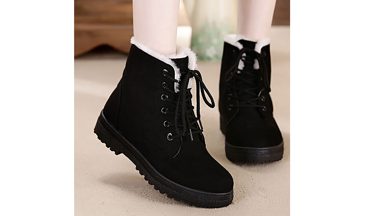 Winter Snow Boots for Women Comfortable Outdoor Anti-Slip Ankle Boots Suede Cotton Warm Fur Lined Booties Lace Up Flat Platform Shoes