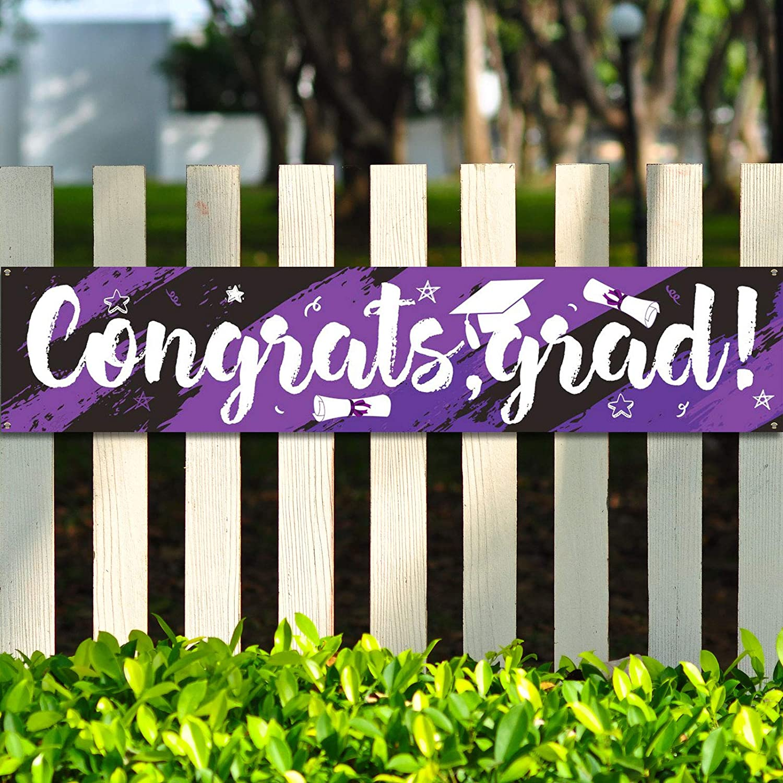 Graduation Party Decorations Graduation Banner Supplies 2021 Congrats Grad Graduation Backdrop Photo Booth Wall Party Decor for Home Classroom Indoor Outdoor Decoration (Purple and Black)
