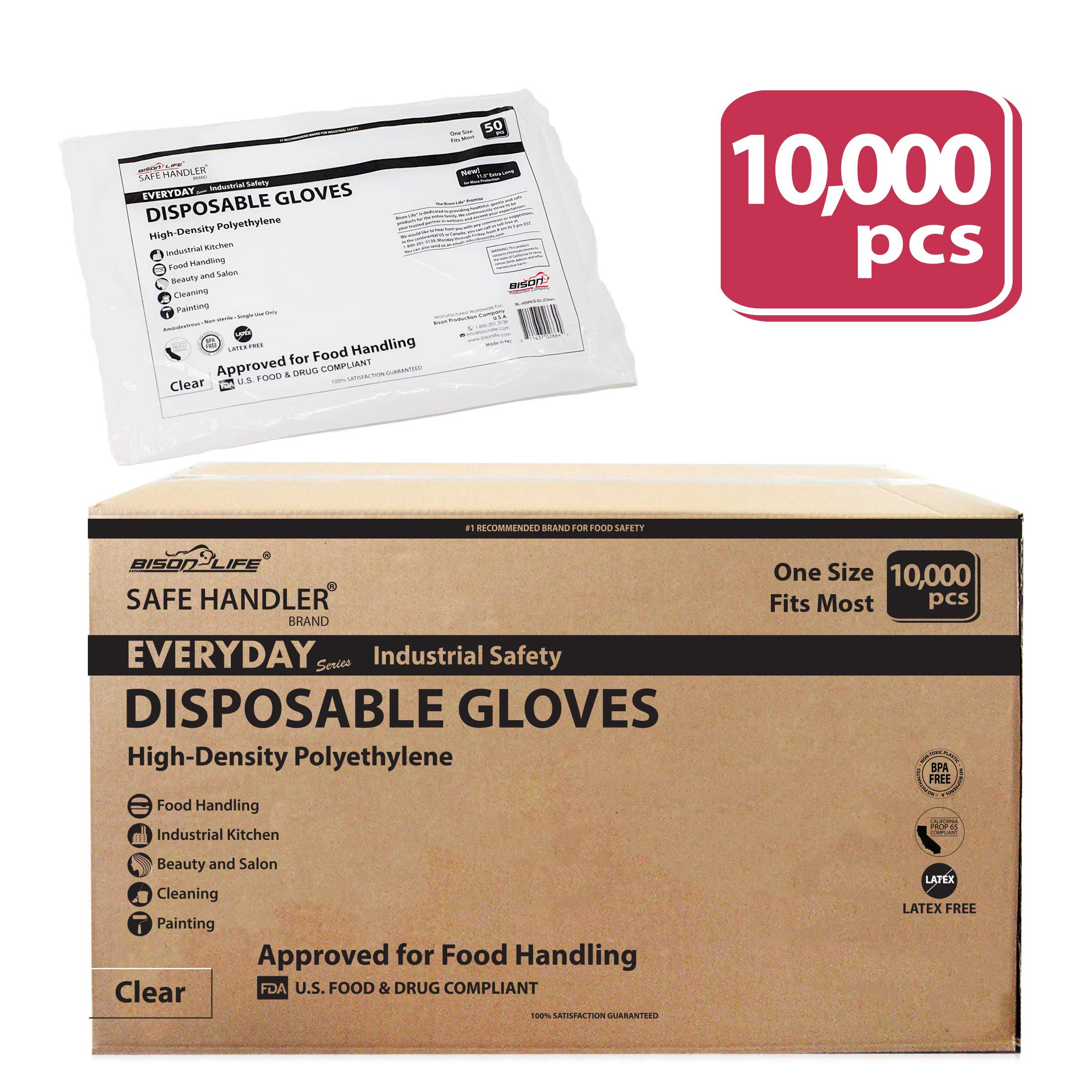 SAFE HANDLER Disposable Food Handling Long Cuff Poly Gloves | One Size Fits Most, 0.65g, 11'', 200 Packs of 50 Gloves, (10,000 Gloves Total)