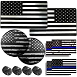 AOOTF American Flag Decals Aluminum- USA Patriotic Black and White Metal Sticker, 2 Pack Large 3 x 5 for Truck, SUV, Bumper o