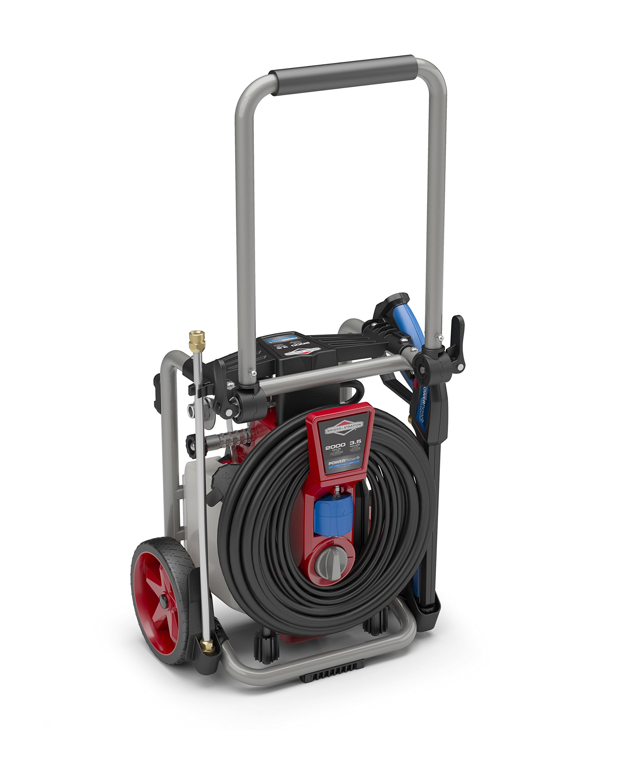 Briggs & Stratton Electric Pressure Washer 2000 PSI 3.5 GPM POWERflow+ Technology, 7-in-1 Nozzle, 25-Foot Hose & Detergent Tank