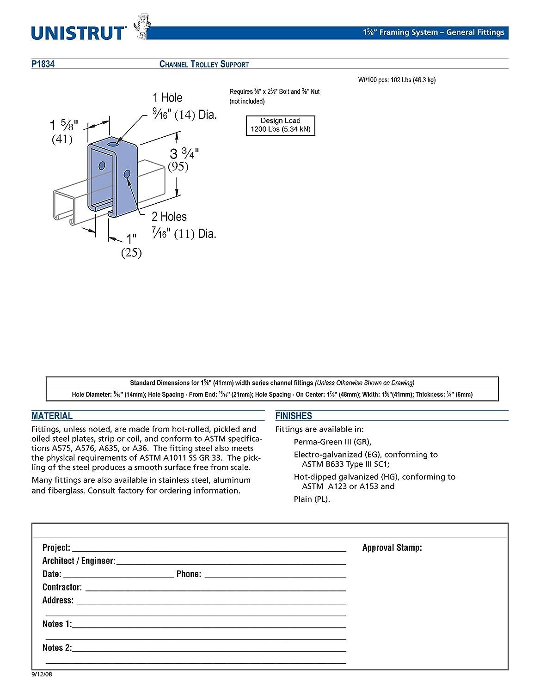 Genuine Unistrut P1834-EG Channel Trolley Track Intermediate Support Hanger Bracket for All 1-5//8 Strut Channel
