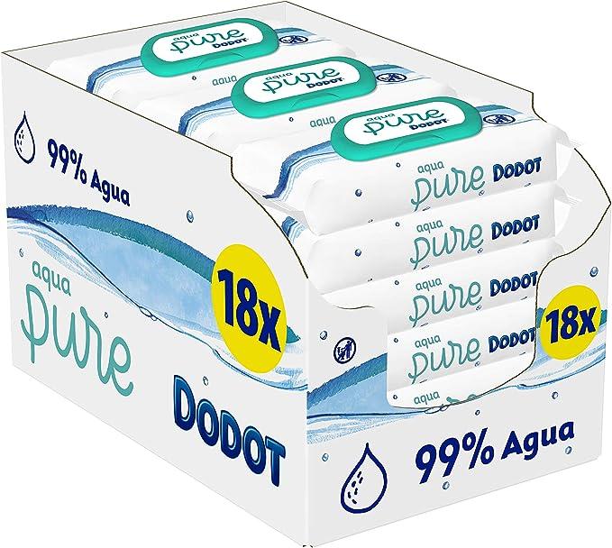 Dodot Aqua Pure - Toallitas Bebé con 99% Agua, 18 Paquetes, 864 ...