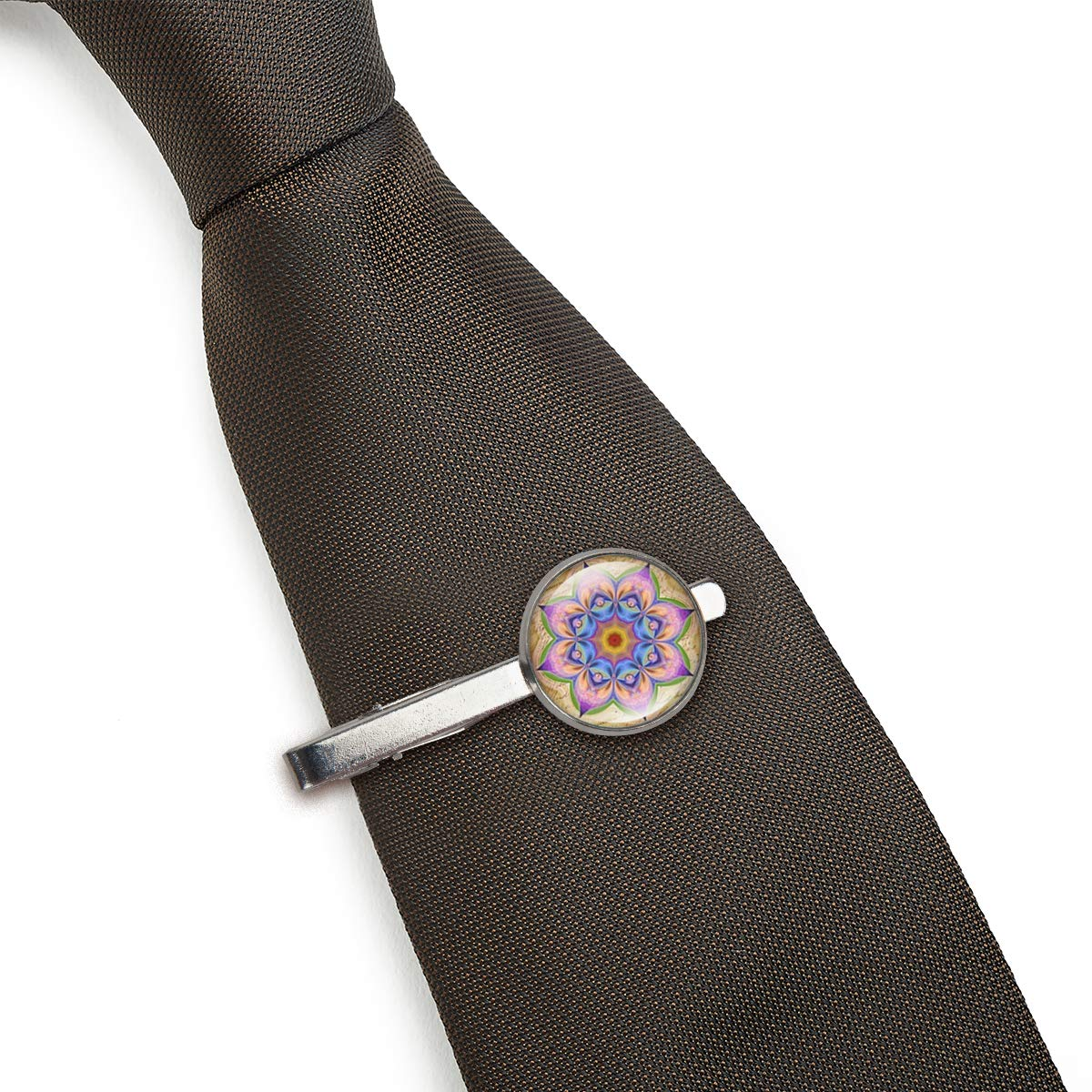 LooPoP Men Tie Clip Mandala Bohemian Flowers Stainless Tie Pins for Business Wedding Shirts Tie Clips Include Gift Box