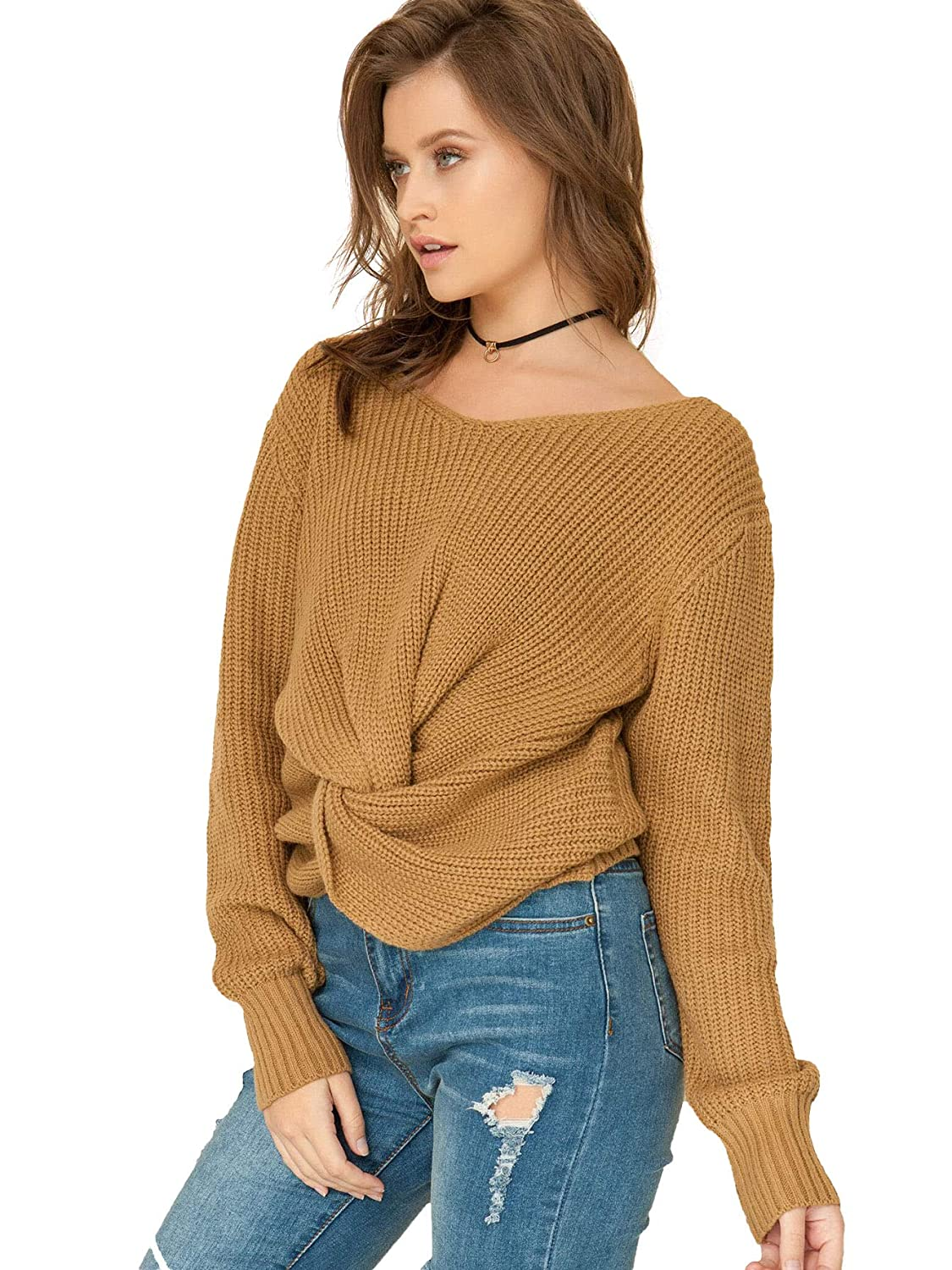 6d2c26e33956c3 Milumia Long Sleeves Criss Cross Loose Fitting Batwing Style Fall  Lightweight Sweater V Neck Shirts Mustard at Amazon Women s Clothing store