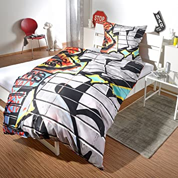 G BETTWARENSHOP Renforcé Bettwäsche Set Graffiti • Mega Coole Bunte  Jugendzimmer Bettwäsche NYC Street Art Design In 100% Baumwolle Mit ...