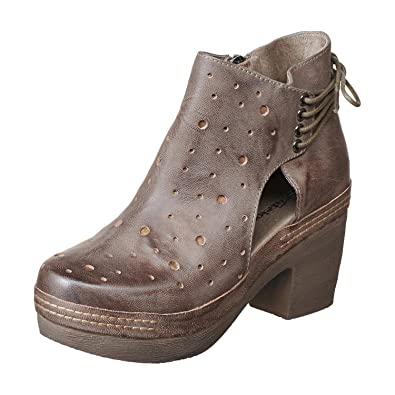 fe7a1e95a4b0 Antelope Women s 996 Grey Leather Cut   Lace Clog Bottom Bootie 36