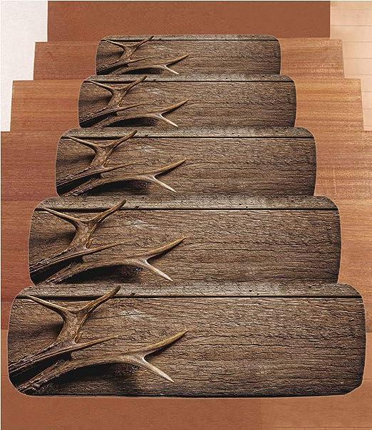 Antlers Decor - Peldaños de forro polar para escalera, tapetes para escalera, cuernos de ciervo en mesa
