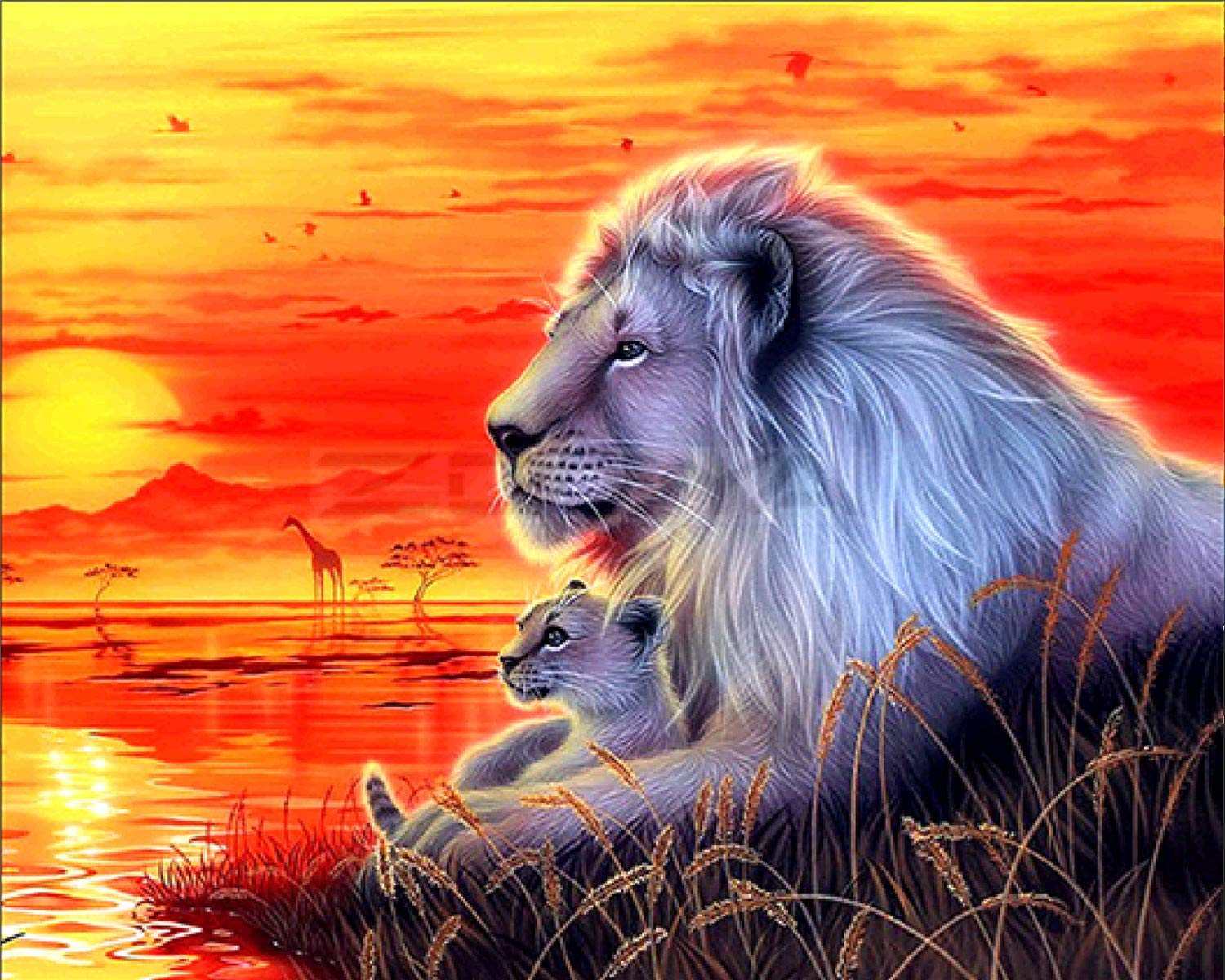 EOBROMD 5D Diamond Painting Kit White Lions 12 x 16inch Full Drill DIY Embroidery 3D Diamond Painting Wall Sticker for Home Decor