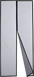 DOOREASY Magnetic Screen Door Curtain, Full Length Loop Sewn Polyester Mesh, Add-on Magnets and Weight Bars, Quick Close No Slightest Gap(Fits Doors Up to 34