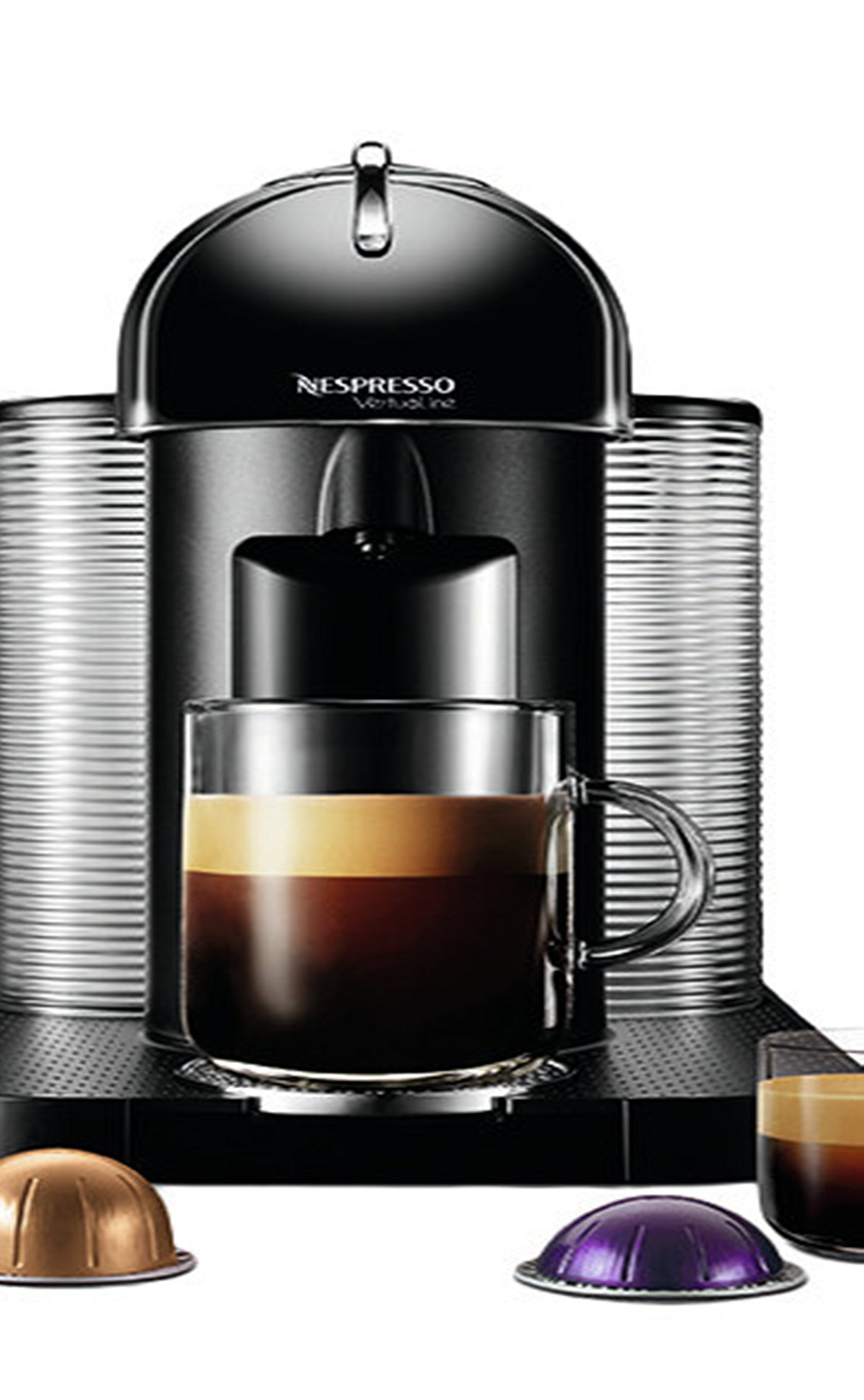 VertuoLine Coffee & Espresso Maker with Aeroccino+ Milk Frother- Rotative Opening/Closing- One Touch Operation- Automatic Ejection of Capsules- Plastic, aluminum, Black