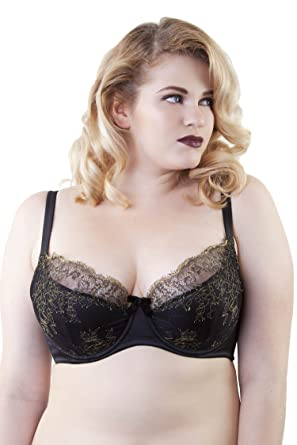 6e3417d62748f Playful Promises Womens Ladies Karine Lace Overlay Bra Black   Gold Curve  40C