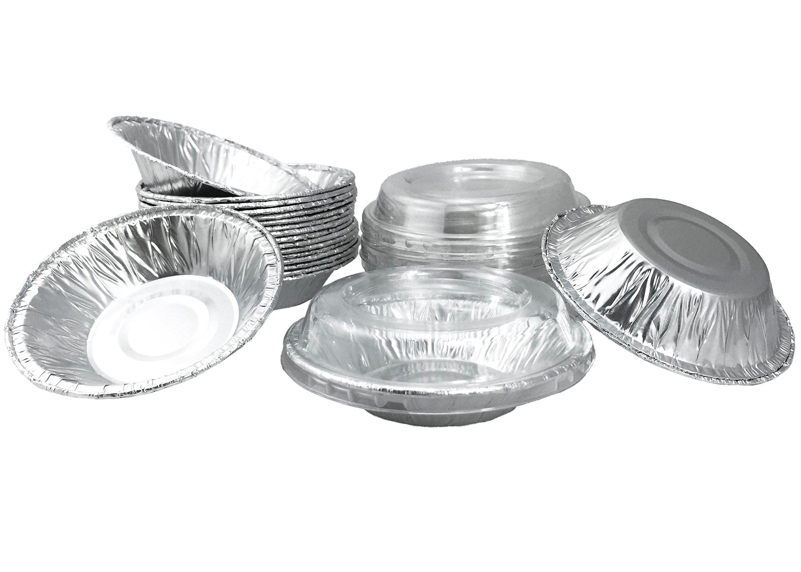 Aluminum Foil Mini Pie Pans 3-1/2'' For Pie/Tart Pans, Mini Pot Pies And Pastries With Lids 20 Sets.