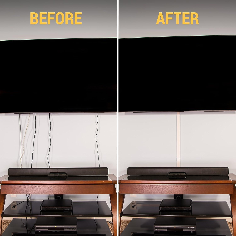 Kit de canaletas largas de pared para ocultar cables - Sistema de gestión de cables para ocultar cables, cuerdas o alambres - Organiza cables para TVs y ...