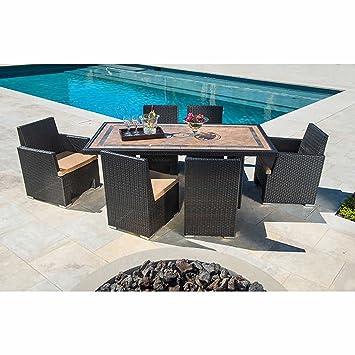 Sirio Niko 7 Piece Patio Furniture Dining Set   Camel