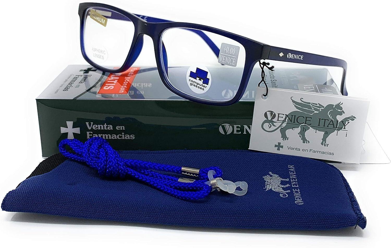 Gafas ver de cerca, lectura con Filtro Luz Azul, Ordenador Gaming Móvil, Protección Antifatiga - Venice Coti Dioptría (1-1,50-2 - 2,50-3 - 3,50) (Azul, Graduación +2,50)