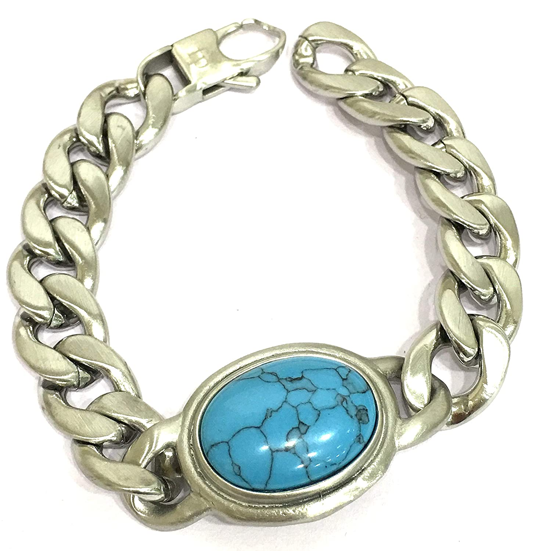 39d6afe82fb40 Digital Dress Room Salman Khan Bracelet Men Bracelet Accessories Stainless  Steel Chain with Oval Semi Precious Turcoise Gemstone Loose Fit Unsex Boys  ...