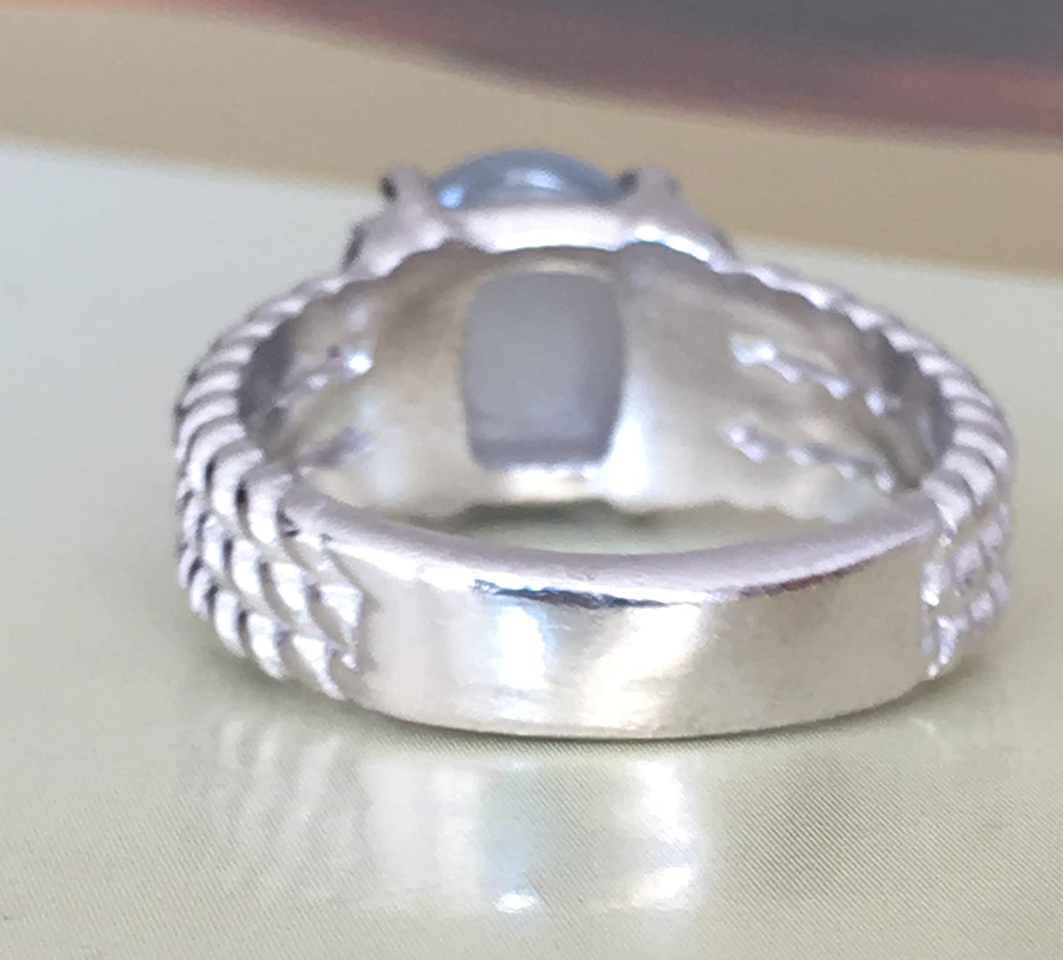 Designer Inspired Twisted Cable 10x8mm Grey Moonstone with Simulated Diamond Cushion Ring Size 7 8 9