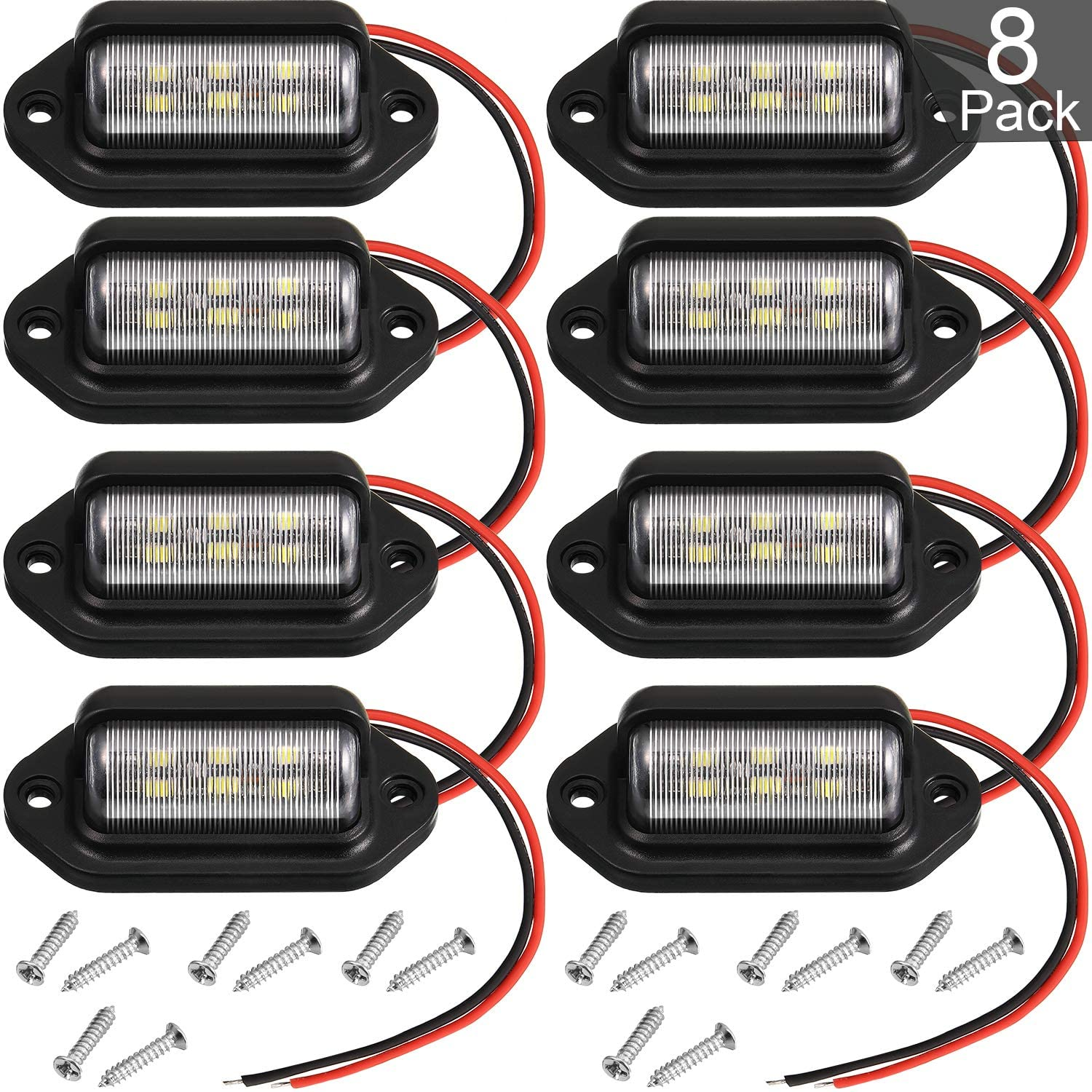 8 Packs 12V 6 LED License Plate Light Waterproof License Plate Lamp Taillight for Truck SUV Trailer Van RV Trucks and Boats License Tags