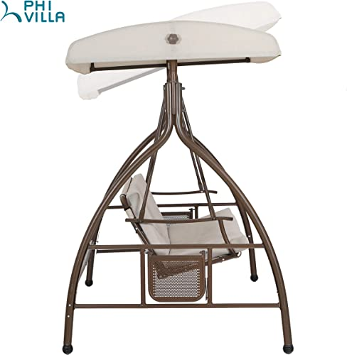 PHI VILLA 3 Person 750lbs Soft Cushioned Porch Swing Chair Glider Bench