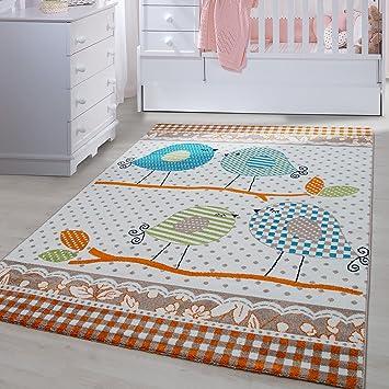 Carpetsale24 Kinder Teppiche Für Kinderzimmer, Babyzimmer, Spielteppich  Süße Vogel Design, Multi Farben Beige