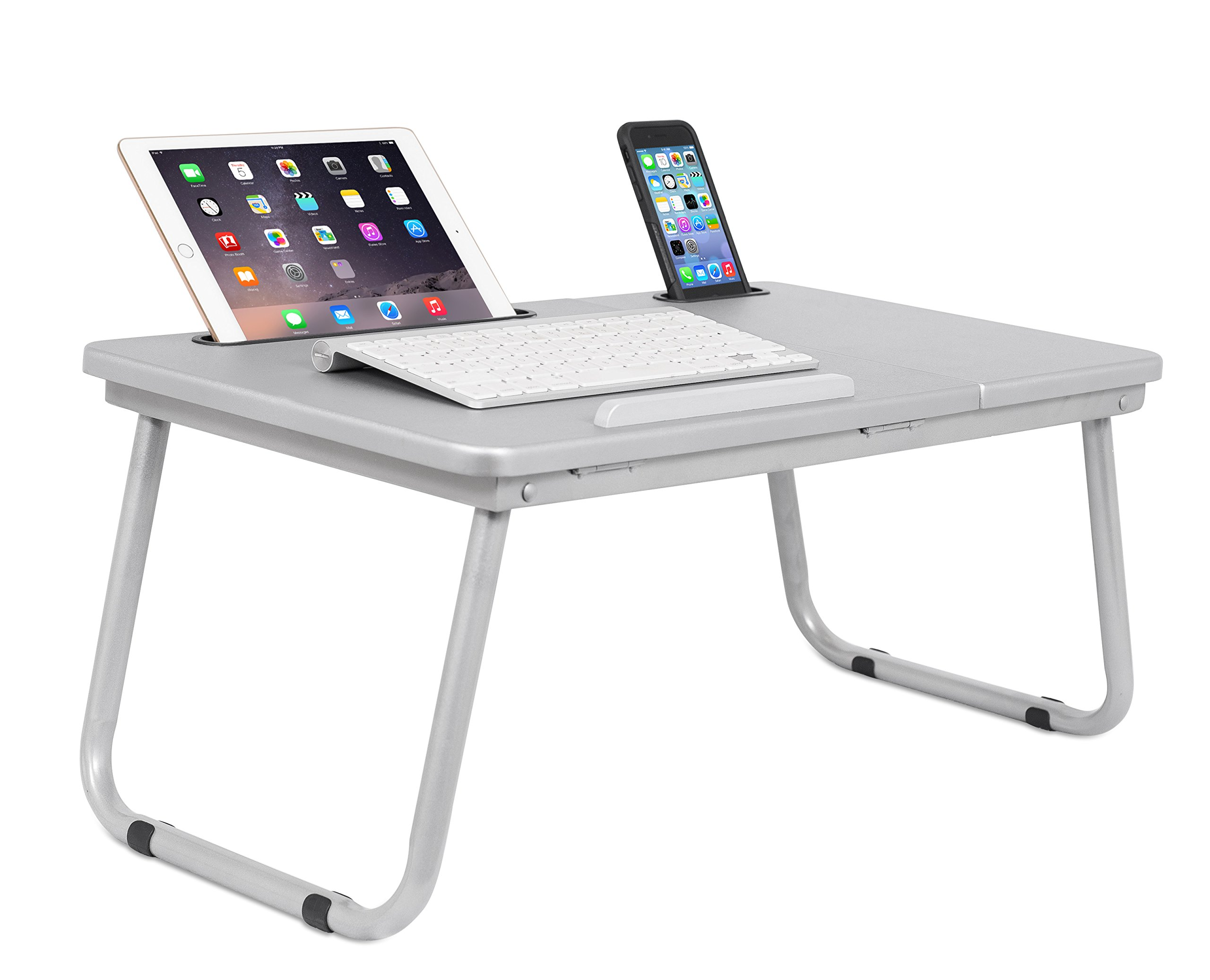 Sofia + Sam Lap Tray with Tablet & Phone Slots | Metal Folding Legs | Lap Desk with Tilting Top | Laptop Stand | Breakfast Serving Bed Tray | Grey