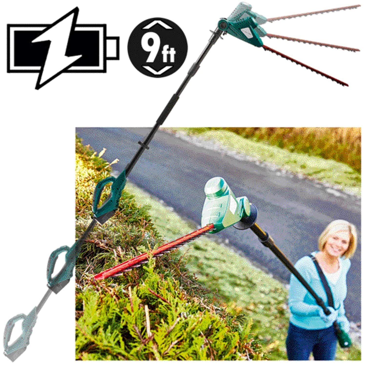 Bergman Cordless Electric Garden Hedge Trimmer/Cutter / Pruner With 3m Telescopic Extending Pole