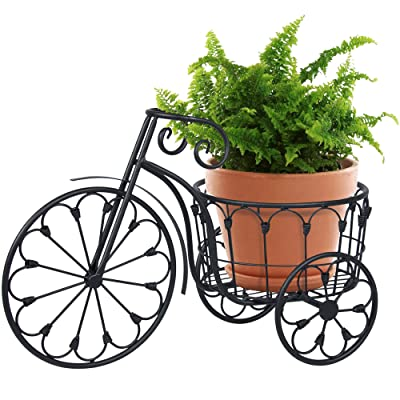 Best Choice Products Patio Mini Garden Tricycle Planter Home Decor Iron Plant Stand - Black : Garden & Outdoor