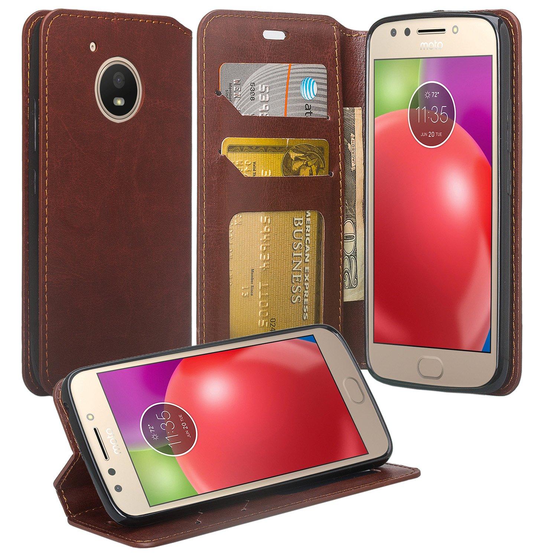 cheap for discount 0f6f0 86e4a Motorola Moto E4 Case, Moto E4 Wallet Case, Flip Folio [Kickstand] Pu  Leather Wallet Case with ID&Credit Card Slot For Moto E4 - (Brown)