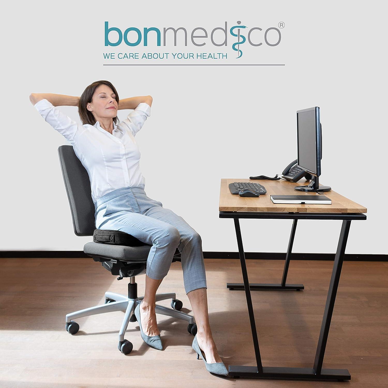 Rollstuhl /& Auto Druckentlastend z.B Home Office Standard bei Dekubitus bonmedico Orthop/ädisches Sitzkissen mit Gel Memory Foam Stuhlkissen zur Stei/ßbein-Entlastung f/ür B/üro