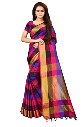 9d19c4862a LooksGud Women's Soft Silk Saree (Multi Blue): Amazon.in: Clothing ...