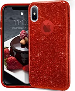 "MATEPROX iPhone Xs case,iPhone X Glitter Bling Sparkle Cute Girls Women Protective Case for iPhone Xs/X 5.8"" -Red"