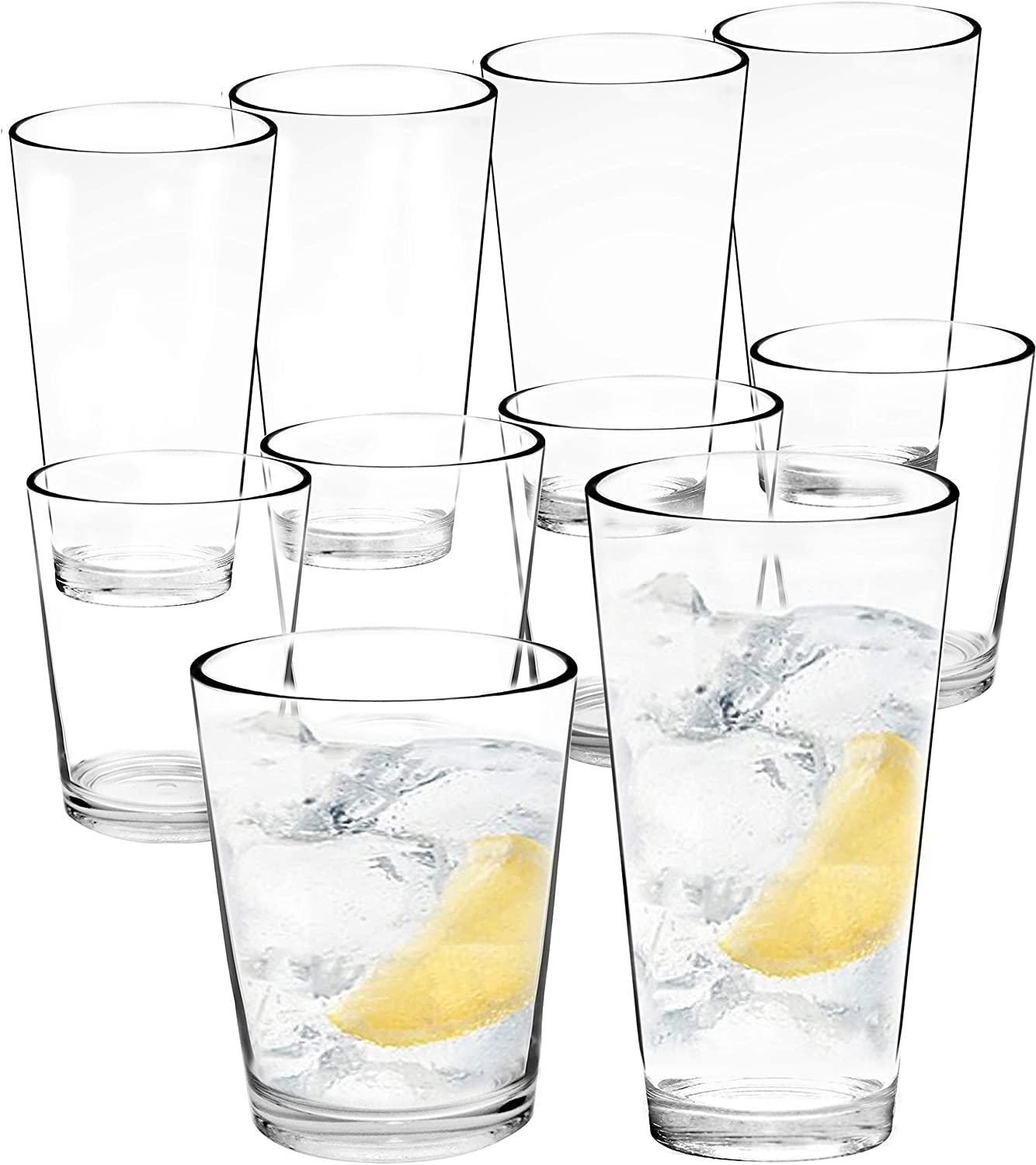 Youngever 8 Pcs Bistro Plastic Drinking Tumblers, Plastic Glasses, Reusable Plastic Cups, Unbreakable Glasses, Drinking Glasses (16 Ounce & 22 Ounce)