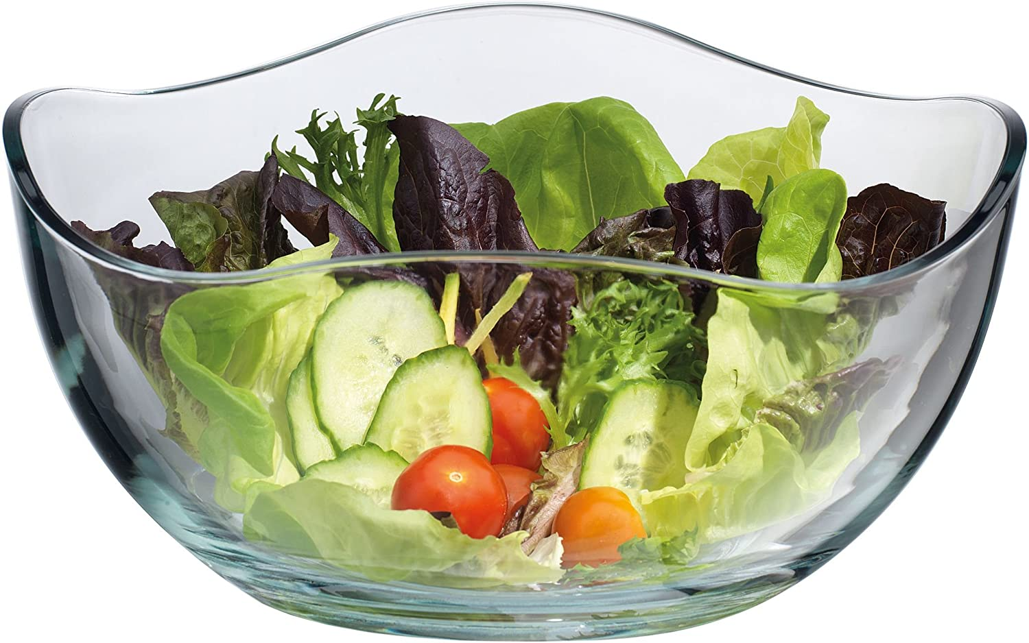 Large Clear Glass Wavy Salad Bowl, Mixing Bowl, All Purpose Round Serving Bowl Le'raze